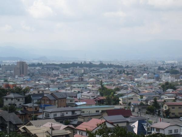 飯盛山から会津若松城の風景