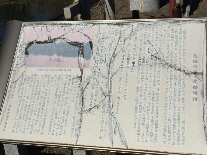 息栖神社の一の鳥居案内板