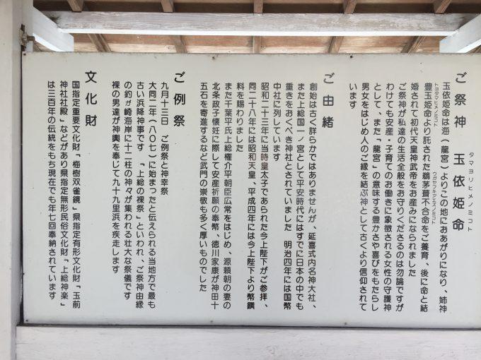 玉前神社の説明版